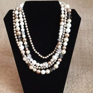 White House Black Market Pearl and Stone Necklace.